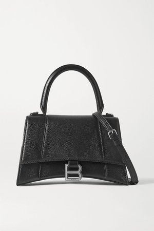 Black Hourglass small textured-leather tote | Balenciaga | NET-A-PORTER