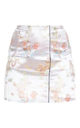 Champagne Oriental Print Satin A Line Skirt | PrettyLittleThing