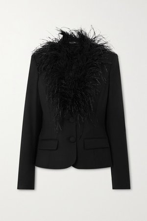 Feather-trimmed Wool-blend Blazer - Black