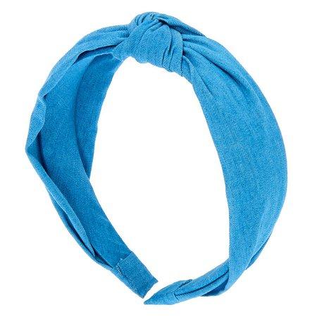 Denim Knotted Headband - Blue | Icing US