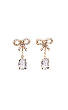 14k Gold-Plated Crystal-Embellished Bow Earrings By Oscar De La Renta | Moda Operandi