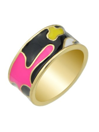 Black-8 Enamel Geometric Pattern  Finger Rings