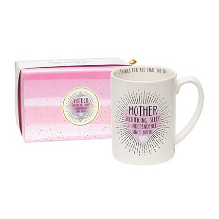 """C.R. Gibson 16 oz Porcelain Coffee Mug, Gift Boxed, Dishwasher & Microwave Safe, Measures 5"""" W x 4.63"""" - Mother"""