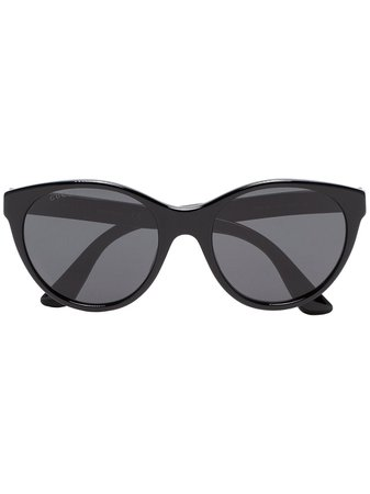 Gucci Eyewear Black Curved Cat Eye Sunglasses Ss19