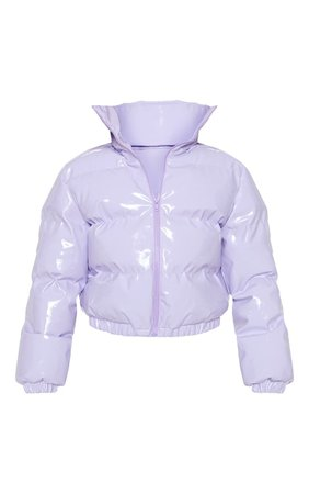 *clipped by @luci-her* Lilac Vinyl Puffer | Coats & Jackets | PrettyLittleThing USA