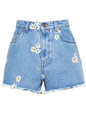 Miu Miu Embroidered Floral Shorts - Farfetch