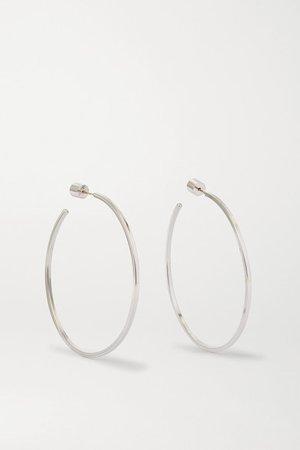 "Jennifer Fisher | 2"" Square Thread silver-plated hoop earrings | NET-A-PORTER.COM"