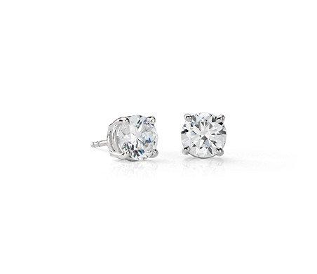Diamond Stud Earrings in Platinum (3 ct. tw.)   Blue Nile