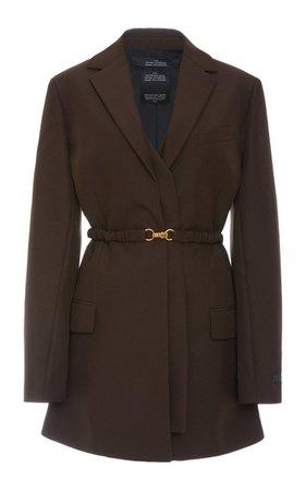 Belted Woven Single-Breasted Blazer By Rokh   Moda Operandi