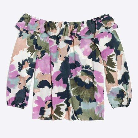 Printed ruffle convertible blouse