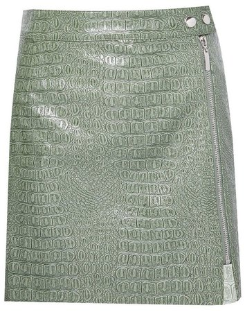 **Lola Skye Green PU Zip Skirt