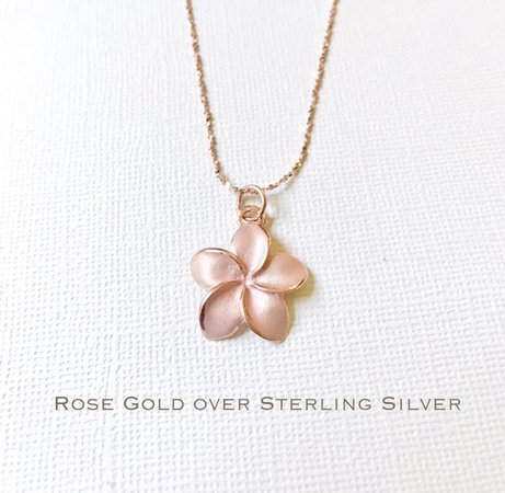 Sale Rose Gold over Sterling Silver plumeria necklace   Etsy