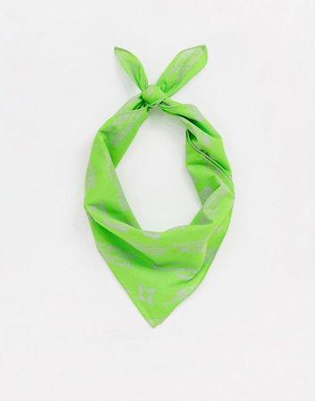 ASOS DESIGN bandana in organic cotton neon green print   ASOS