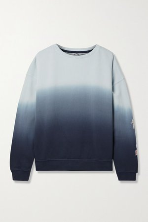 Alena Embroidered Ombre Cotton-jersey Sweatshirt - Navy