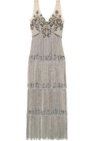 Marchesa Notte | Fringed embellished tulle and satin gown | NET-A-PORTER.COM