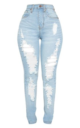 Shape Light Wash Rip Skinny Jeans   Curve   PrettyLittleThing