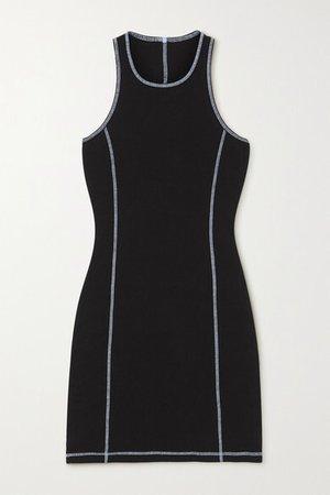 Ribbed Stretch-cotton Jersey Mini Dress - Black