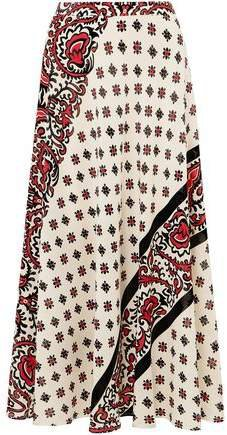 Printed Silk Midi Skirt