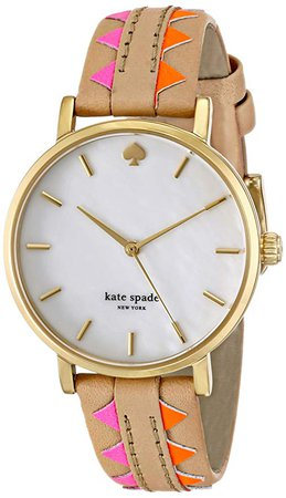 Amazon.com: kate spade new york Women's 1YRU0503 Metro Gold-Tone Watch with Multicolor Leather Band: Clothing