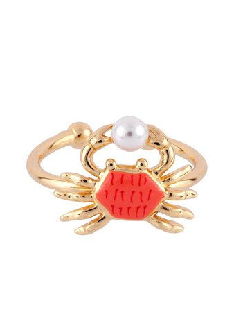 N2 by Les Néréides Women's I Am A Mermaid Little Crab Adjustable Ring in Red