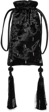 Embellished Velvet Pouch - Black