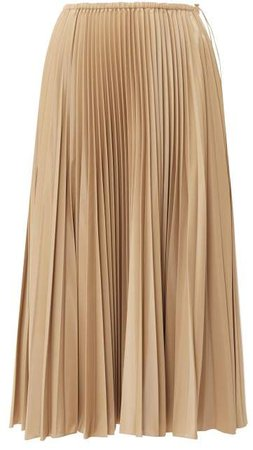 High Rise Pleated Satin Midi Skirt - Womens - Beige