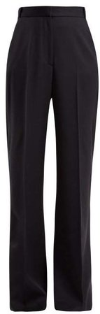 Wide Leg High Rise Wool Trousers - Womens - Navy