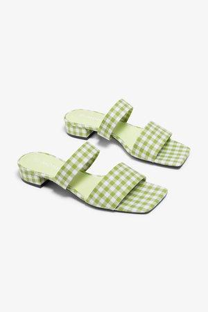 Slip-on sandals - Green gingham - Shoes - Monki WW