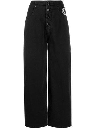 Black MM6 Maison Margiela wide-leg cropped jeans - Farfetch