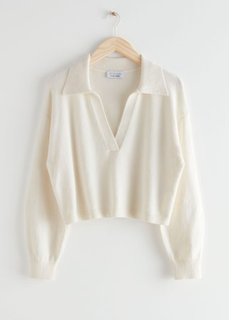 Relaxed Collared V-Neck Sweater - White - Sweaters - & Other Stories