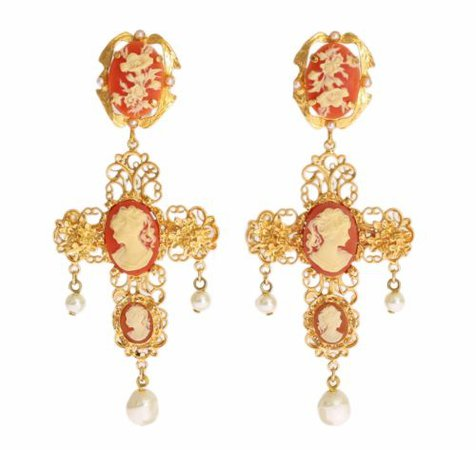 NEW $880 DOLCE & GABBANA Earring Gold Brass Cross Pearl Floral Dangling Clip On 8058349824674 | eBay