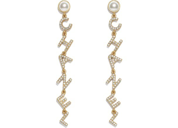 Earrings, metal, glass pearls & strass, gold, pearly white & crystal - CHANEL