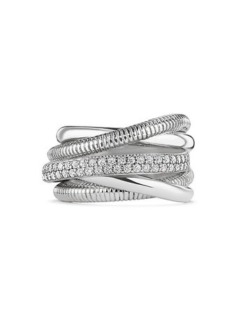Judith Ripka Eternity 18K White Gold, Sterling Silver & Diamond 5-Band Highway Ring | SaksFifthAvenue