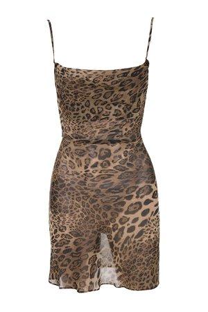 leopard cowl neck dress