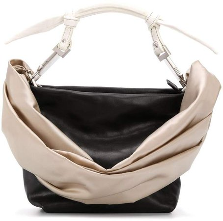 draped-detail top-handle tote