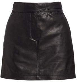 Rag& Bone Rag& Bone Women's Mila Leather Mini Skirt - Black - Size 4