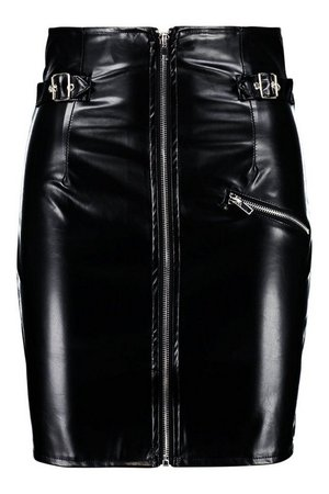 Leather Look High Waist Buckle Mini Skirt | Boohoo