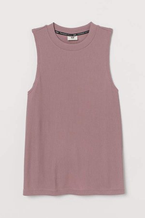 Ribbed Sports Tank Top - Pink