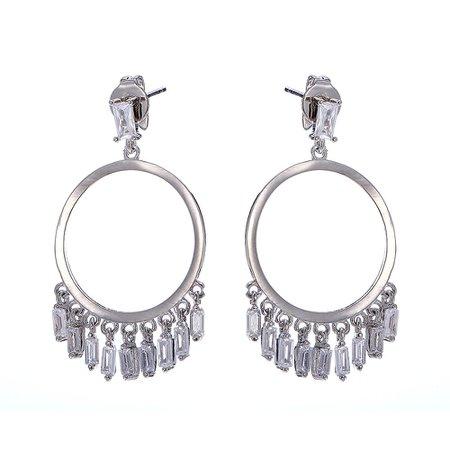Elegant Ear Drop Earrings Silver Plated Platinum Round Zircon Tassels Dangle Jewelry for Women online - NewChic