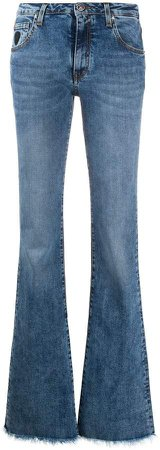 frayed flared jeans