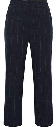 Carlie Cropped Checked Wool-twill Straight-leg Pants