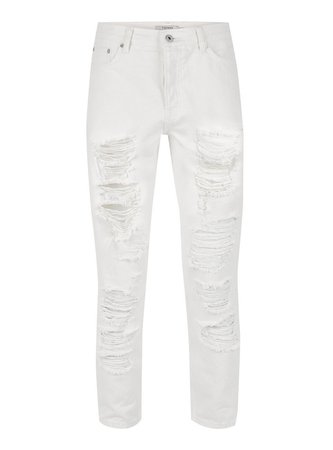 White Extreme Ripped Tapered Jeans - Jeans - Clothing - TOPMAN USA