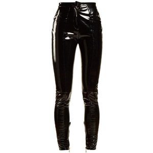 Coated mid-rise skinny-leg trousers