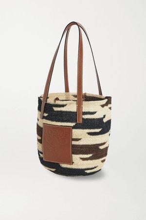 Black + Paula's Ibiza Shigra leather-trimmed woven raffia tote | Loewe | NET-A-PORTER
