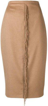 fringed strip pencil skirt