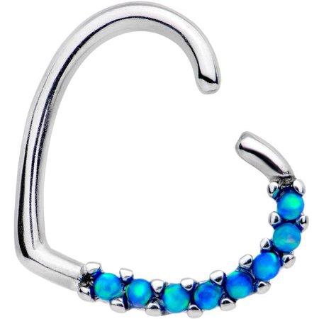 "3/8"" Blue Synthetic Opal Heart Left Daith Cartilage Tragus – BodyCandy"
