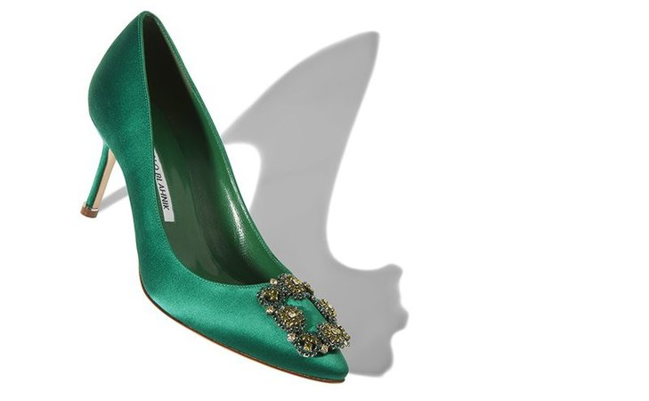 Green pumps with green jewel buckle