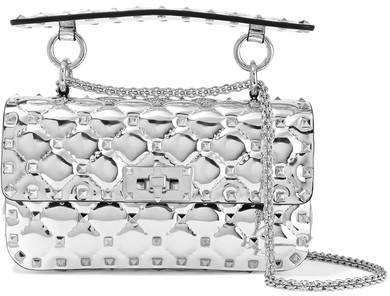 Garavani The Rockstud Spike Small Metallic Quilted Leather Shoulder Bag - Silver