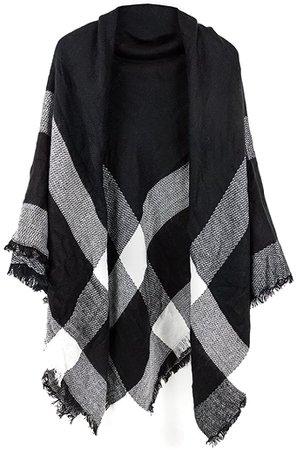 Women's Cozy Tartan Blanket Scarf Wrap Shawl Neck Stole Warm Plaid Checked Pashmina (Black White Gray) at Amazon Women's Clothing store