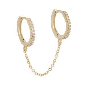 Gold Double Huggie Chain Earring | Adina's Jewels